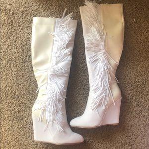 White wedge fringe boots
